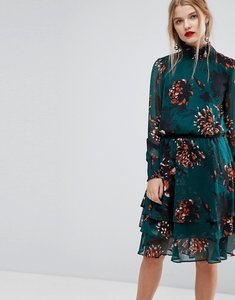Read more about Y a s bold floral print high neck skater dress - multi