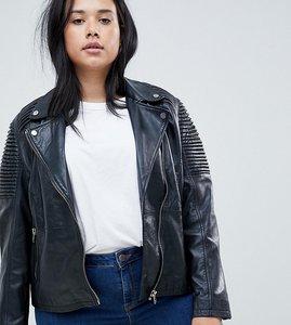 Read more about Barney s originals plus leather biker jacket with shoulder detail - black