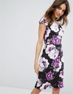 Read more about Wal g floral bardot pencil dress - black purple