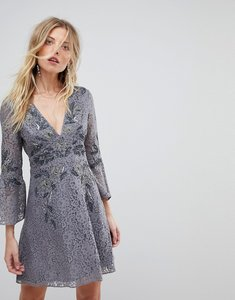 Read more about French connection embellished lace mini dress - smokey gunmetal