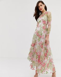Read more about Asos edition cutabout maxi dress in red embroidered floral
