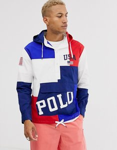 Read more about Polo ralph lauren colourblock logo print overhead hooded jacket in red white blue