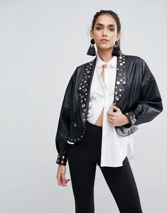 Read more about Asos leather look biker jacket with 80 s jewel embellishment - black