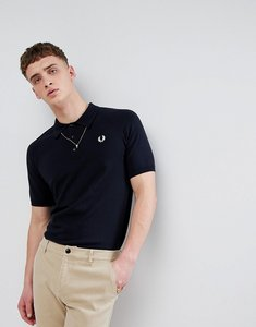 Read more about Fred perry reissues raglan knitted polo in navy - 797