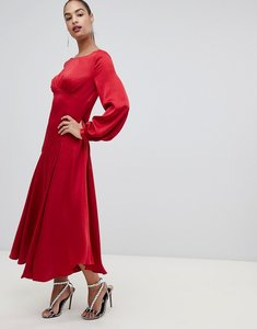 Read more about Forever new satin maxi dress with thigh split in red