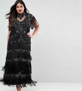 Read more about A star is born plus embellished maxi dress with tiered fringing and cap sleeve - black