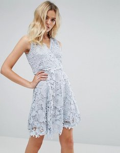 Read more about Amy lynn occasion lace wrap over skater dress - blue