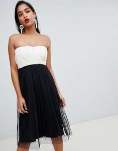 Read more about Asos design colourblock tulle bandeau midi dress - mono