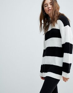 Read more about Bershka stripe longline knitted jumper - multi