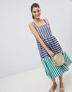 Read more about Asos design stripe midi tiered sundress - multi