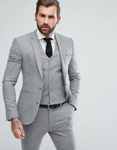 Read more about Asos super skinny suit jacket in grey houndstooth - grey