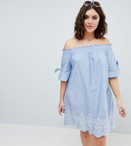 Read more about Influence plus shirred sleeve bardot dress with embroiderry detail - blue