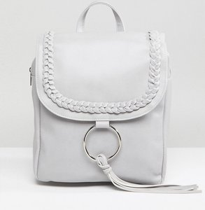 Read more about Glamorous braid detail backpack with ring tassel detail - grey