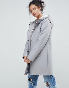 Read more about Asos borg lined raincoat - grey