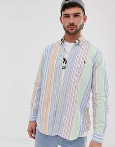 Read more about Polo ralph lauren player logo stripe oxford button down shirt custom regular fit in multi