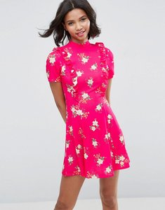 Read more about Asos mini tea dress with open back and frill - pink floral