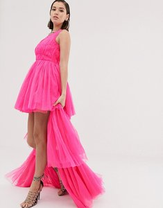 Read more about Lace beads tulle layered maxi dress in neon pink