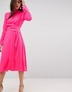 Read more about Asos cut out midi dress - neon pink