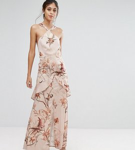 Read more about Hope ivy printed satin maxi dress with cutaway neck detail - nude print