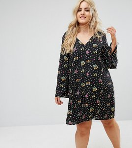 Read more about Alice you button front long sleeve swing dress - black