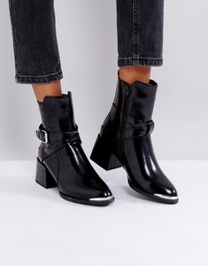 Read more about Lost ink jodphur black tipped heeled ankle boots - matte black exc