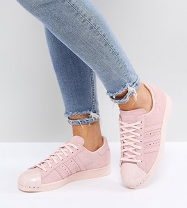 Read more about Adidas originals pink superstar 80s trainers with metal toe cap - pink