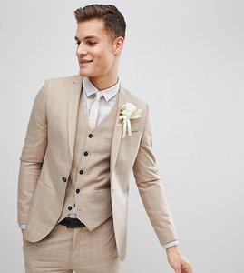 Read more about Noak skinny wedding suit jacket in windowpane check - beige