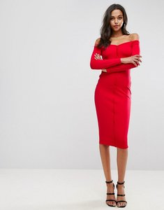 Read more about Asos midi sweetheart neck button through bodycon dress - red