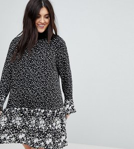 Read more about New look curve mono mix floral print frill sleeve dress - black pattern
