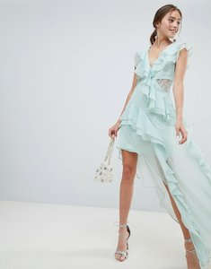 Read more about Asos design soft asymmetric ruffle lace insert maxi dress - soft mint
