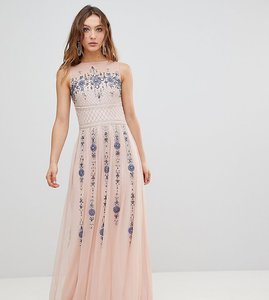 Read more about Frock and frill premium all over embellished maxi dress - pink multi