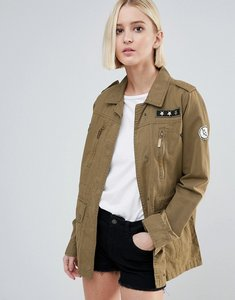 Read more about Brave soul army badge trucker jacket - khaki