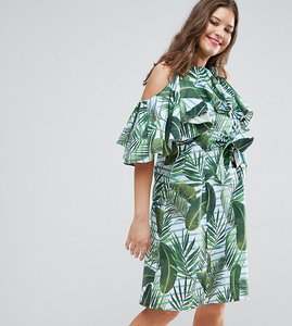 Read more about Asos curve palm print midi sundress with ruffle - multi