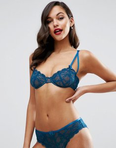 Read more about Asos gianna lace underwire bra with satin detail - vintage blue