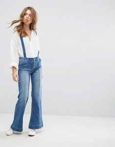 Read more about Hollister wide leg dungarees - denim