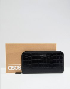 Read more about Asos design leather travel wallet in black crocodile emboss - black