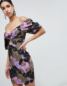 Read more about Flounce london printed off shoulder bodycon midi dress with cut out front