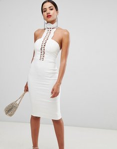 Read more about Rare london high neck crochet detail pencil dress - white