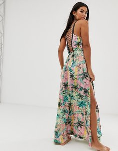 Read more about Asos design ombre tropical print beach maxi dress with lattice back