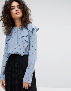 Read more about Sonia by sonia rykiel playing card printed silk blouse - blue multi
