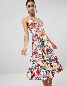 Read more about Asos premium floral drop waist scuba prom dress - multi