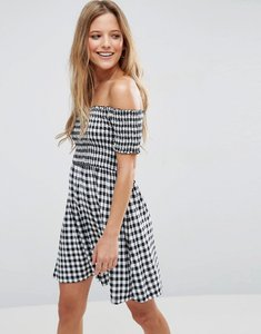 Read more about Asos off shoulder sundress with shirring in gingham - mono gingham