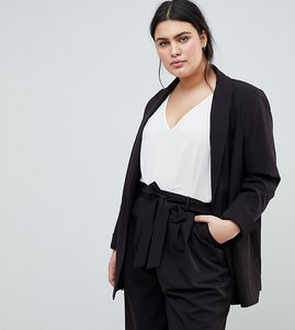 Read more about Asos design curve mix match tailored blazer - black