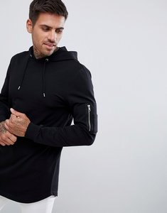 Read more about Asos design longline muscle fit hoodie with ma1 pocket and curved hem - black