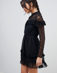 Read more about Asos dobby and lace insert mini skater dress - black