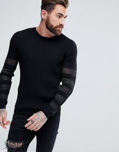 Read more about Asos knitted jumper with sheer panels in black - black