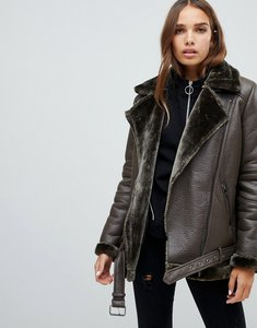 Read more about Only faux leather shearling jacket - green