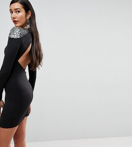 Read more about Asos tall embellished shoulder bodycon open back mini dress - black