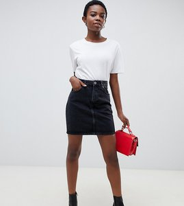 Read more about Asos design petite denim original high waisted skirt in washed black - washed black