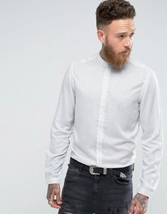 Read more about Asos wedding regular fit vintage floral print shirt with grandad collar - white